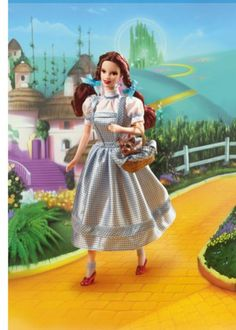 Wizard of Oz: Dorothy Barbie Doll. Dorothy travels along The Yellow Brick Road to the Emerald City with her Yorkshire Terrier, Toto, searching for the great and powerful Wizard to help her find a way home. Barbie I, Barbie Dream, Barbie World, Barbie And Ken, Barbie Stuff, Wizard Of Oz Movie, Dorothy Wizard Of Oz, Dorothy Gale, Wizard Of Oz Collectibles