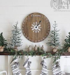 DIY wooden clock advent calendar - Christmas decoration // Adventi kalendárium óra fából - vintage karácsonyi dekoráció // Mindy - craft tutorial collection // #crafts #DIY #craftTutorial #tutorial #winterCrafts #winter #ChristmasCrafts #ChristmasDIY Wooden Clock, Wooden Diy, Christmas Crafts, Christmas Decorations, Xmas, Shabby Chic Advent Calendar, Wooden Calendar, Bazaar Crafts, Gift Wrapping