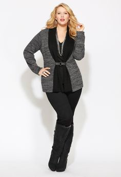 I love this Cardigan - buckle is great detail Plus Size Cardi Party Trendy Outfits, Cute Outfits, Fashion Outfits, Womens Fashion, Work Outfits, Curvy Fashion, Plus Size Fashion, High Fashion, Plus Size Dresses