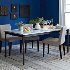 Mix + Match Table - Industrial Steel Base / Marble Top | west elm