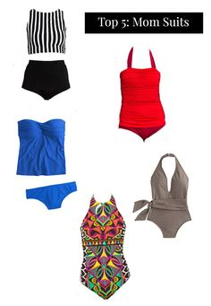 The mom bathing suit. Looking for a great one? Check out these cute, flattering, functional suits!