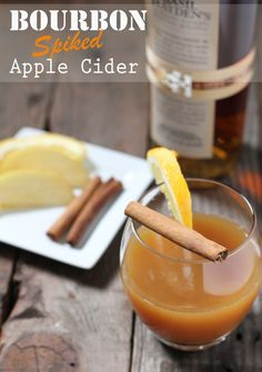 Bourbon Spiked Apple Cider: Bring 4 cups apple cider, 1 cinnamon stick, 1 tablespoon orange juice, 3 whole cloves, & 1 star anise to a boil, then lower heat and simmer 5-10 minutes. Remove from heat and strain into a pitcher. Then mix 2 oz bourbon  (recommend Bulleit or Basil Hayden's) and 1 cup of the cider mix in a glass. Garnish with an orange slice and stick of cinnamon.