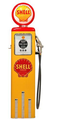 Pompe à essence décorative SHELL jaune et rouge réplique d'une 8 ball des années 50's aux USA :
