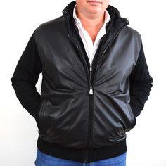 Zwart Paul en shark vest, leren voorpand 100% wol met dubbele rits en inzetstuk
