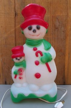 BLOW MOLD SNOWMAN, Two-Sided Empire Products, Light, 1970s, Vintage Christmas Decor or Collectible