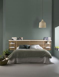 Headboard with shelves NIDRA wood and white Scandinavian style - Bedroom inspiration – Zen – Green wall – Wood – Headboard with NIDRA shelves in wood and wh - Headboard With Shelves, Wood Headboard, Headboards, Headboard Ideas, Bedroom Wall, Bedroom Furniture, Bedroom Decor, Bedroom Shelves, White Bedroom