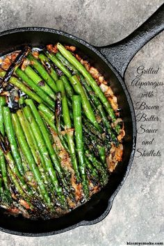 Grilled Asparagus in Brown Butter and Shallots   This recipe is going to knock your socks off.