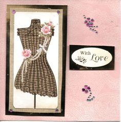 Animal print dress on stand elegant ladies fashion card 'with love' message, gemstone embellishments, pink roses