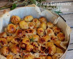 Patate al latte gratinate dorate,croccanti.Ricetta patate novelle morbide con crosticina croccante e dal sapore delicato Scoprite il segreto di tanta bontà