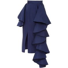 Viva Aviva     Dramatic Silk Party Skirt ($375) ❤ liked on Polyvore featuring skirts, navy, silk skirt, frilly skirts, ruffle skirt, high waisted skirts and slit skirt