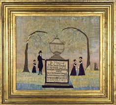 Silk embroidered memorial by ADELINE A. GREENLEAF Boston, MA from Huber