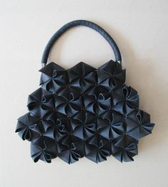 Hexagonal Tessellation - fabric bag design with 3D surface pattern detail; origami fashion