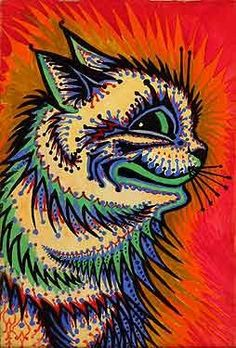 my favorite cat painting by louis wain Louis Wain Cats, Black Cat Painting, Son Chat, English Artists, Cat Cards, Cat Drawing, Outsider Art, Cat Love, Crazy Cats
