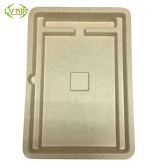 Printable yellow bamboo wet pressing ebook electronics fiber trays molded pulp packaging