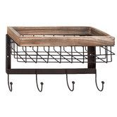 Found it at Wayfair - Unique Patterned Wood Metal Wall Basket with Hooks for keys and leash