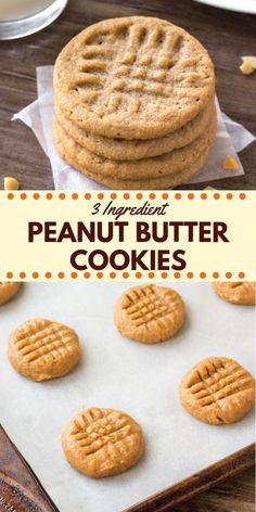 easy cookies These 3 ingredient peanut butter cookies are soft, chewy amp; filled with big peanut butter flavor. They taste just as delicious as classic peanut butter cookies - only they take way less effort to make. Classic Peanut Butter Cookies, Flourless Peanut Butter Cookies, Chocolate Cookie Recipes, Sugar Free Peanut Butter Cookies, Desserts With Peanut Butter, Cookies With Peanut Butter, Cookie Recipes Without Butter, Flourless Oatmeal Cookies, Cookies Without Brown Sugar