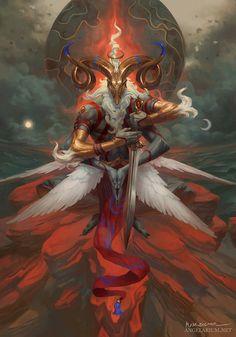 Malahidael, Angel of Aries, Peter Mohrbacher on ArtStation at https://www.artstation.com/artwork/9qyrq