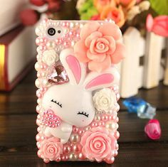 Kawaii bunny DIY Phone Case Deco Den Kit - Free iPhone5 case or iPhone4/4S case on Etsy, $7.39