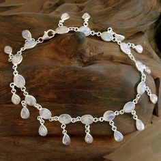 Moon Dancer Round with Pear Pendants Moonstone Gemstones set in 925 Sterling Silver Bohemian Womens Fluid Link Anklet (India)