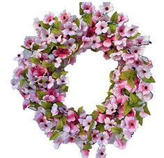 Summer Door Wreaths, Wreaths For Front Door, Flower Petals, Silk Flowers, Pink Dogwood, Pink Silk, Shabby Chic Decor, Decorative Accessories, Light In The Dark
