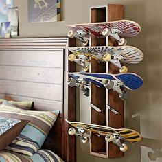 I love the Rustic Skateboard Display on pbteen.com