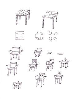 100 - Skizze - Stuhl, Tisch