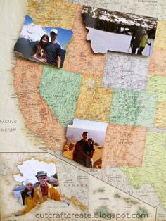 Make a personalized map. Take pictures in each state, then cut to match the state & attach to the map. Love this idea. A great way to remember trips without digging through a scrapbook.
