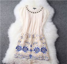 Designer Gorgeous Embroidered Lace Dress - Beige on Luulla