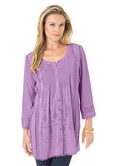 041378c7f8732 Women s Plus Size Eyelet Pleated Shirt W Roamans