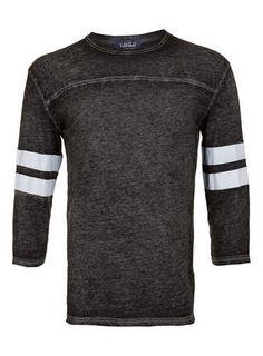 Grey Burnout Varsity Stripe Long Sleeve T-Shirt