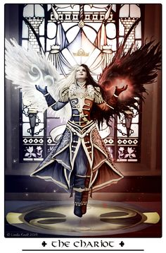 """Fable Tarot: The Chariot by Isriana  ~ represents conquest, victory and overcoming opposition through your confidence and control. Any success will be a result of applying these factors to the situation. You will need to use the strength of your willpower to overcome any obstacles or challenges in your way. You must be determined, self-disciplined, and hard working. This struggle will ultimately make you stronger."""""""