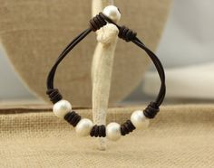 ETS-B151 Handmade freshwater pearl beaded leather bracelet, leather pearl bracelet,cord bracelet,leather cord,leather bracelet,
