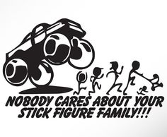 Funny Stick Figure Family Car Decals Sticker Nobody cares about Mom Dad Sister Brother Baby on Etsy, $8.00