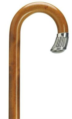 Sterling Silver Nose Cap Cane Men's imported maple crook handle cane with a hand crafted Alpacca nose cap handsomely mounted on a 36 inch cherry finished shaft tapering from 7/8 inch to 3/4 inch. Alpa