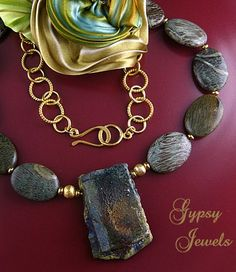 Raku - 22 inch Pendant Necklace with Jasper and Gold Vermeil from gypsyjewels on Ruby Lane