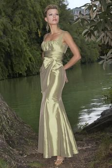 Style #822: Taffeta tank style bridesmaids gown with sheered bodice, mermaid skirt and cummerbund at waist. Available sizes: 2-28; Variety of Colors Available