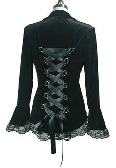 PLUS SIZE Velvet Victorian GOTHIC Corset Laced Jacket BLACK Sizes 14/16 to 28
