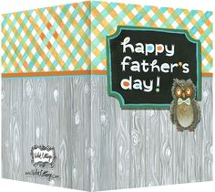 Happy Father's Day owl with a bow tie greeting card.  Blank inside. Available retail or wholesale:  http://www.violetcottage.com/father-s-day/282-father-s-day-card-blank-inside-orange-blue-wood-owl.html