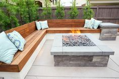 Fire pit with wood bench