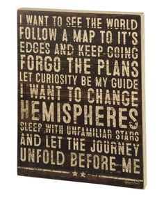 Another great find on #zulily! 'See the World' Box Sign #zulilyfinds