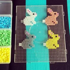 Easter bunnies hama beads by evatonning for more findings pls visit www.pinterest.com/escherpescarves/