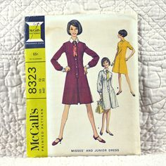 Dress, McCalls 8323 Pattern for Women, FREE SHIP, Cut and Complete, Shirtwaist, Front Pleat, 1966, Size 12, Bust 32, 3-oz by DartingDogPatterns on Etsy