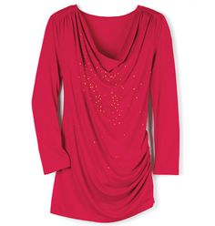 Dazzling Drop Top in Misses- cowl-neck with gold studs. Polyester with spandex. Machine wash and dry. Imported. Shop online at tashina.avonrepresentative.com
