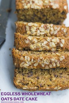 A simple yet satisfying Eggless WholeWheat Oats Date cake that makes a healthy breakfast or snack option! Serve with tea or coffee!