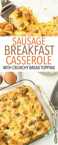 This egg and sausage breakfast casserole recipe is the best one I've ever tried! Love the crunchy bread on top! Sponsored