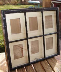 An old window for a picture frame.- with that pesky left over window we still have from the wedding