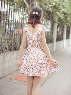 Women's Sweet Dress With Colourful Polka Dot Pattern and Pleated Design - Sammydress.com