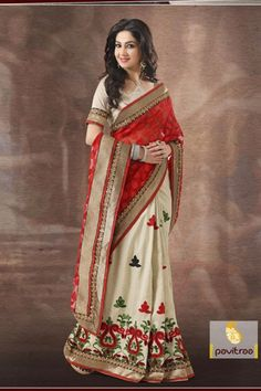 Party wear red and off white multicolor faux silk and georgette half-half sarees created Resham patch border work, embroidery work with unstitched blouse.