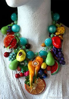 L1568 Sold [L1568] - $470.00 : Kay Adams, Anthill Antiques, Jewelry and Chandelier Heaven. Fruit Necklace. Fruit Jewelry. Carmen Miranda