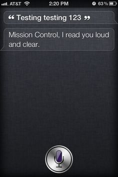 Tell Siri: Testing, testing, 1, 2, 3 #iPhone #Apple #Siri